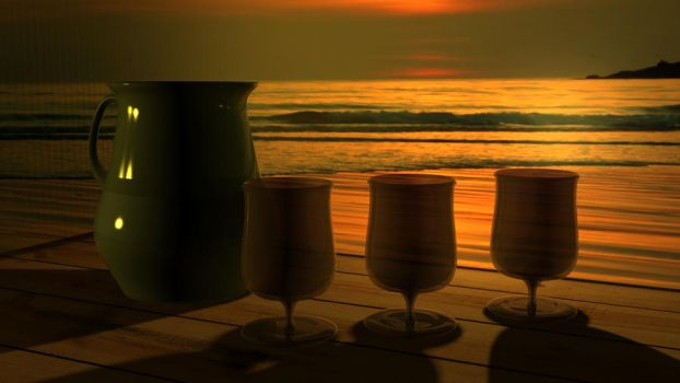 3DS Max - Sunset Drinks by ispandsbob