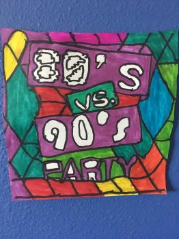 80s Vs 90s Party Art Colorful Design Drawing by NWeezyBlueStars23