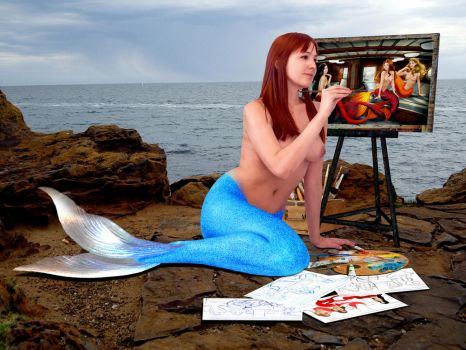 Mermaid Diana Paints Her 3 Favorite Born-Togethers by sirenabonita