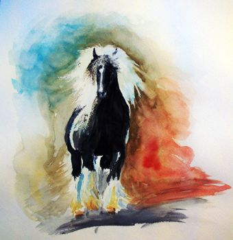 Watercolor Horse Study by Christa-S-Nelson