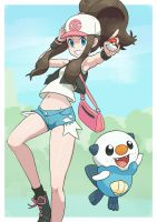 Pokemon trainer Hilda with Oshawott.