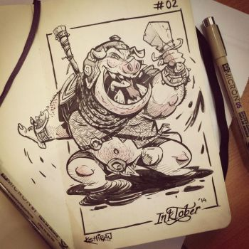 INKtober 2014 #2: Pig Warrior by kshiraj