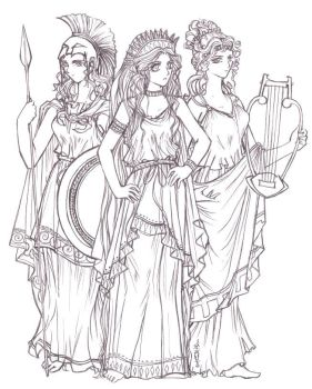 Lineart - Olympian Goddesses - by tomuyu