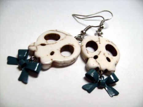 Skull and Bows Earrings by LitBotanica
