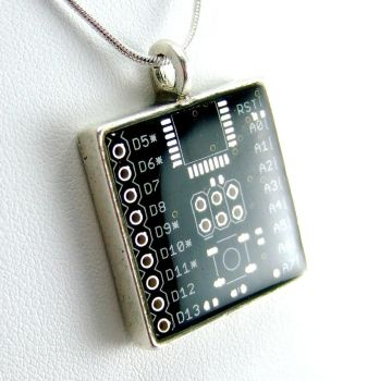 Black Domed Circuit Board Necklace by Techcycle