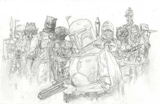 Star Wars Bounty Hunters pencils by Dave-Acosta