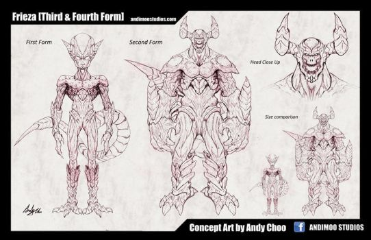 Frieza 1st and 2nd Form Concept Art Sketch by AndiMoo