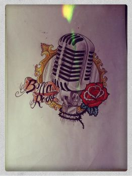 Old microphone- tattoo drawing by Mibooo