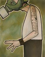 MAn in Gasmask with unfinished by humangarbage