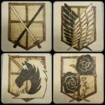 Woodburnings - Attack on Titan Coaster Set by Stepher17