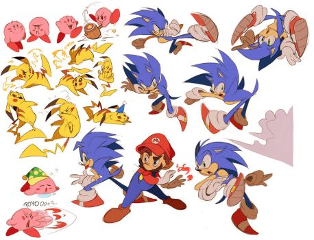 Supersmash sketches by Shira-hedgie