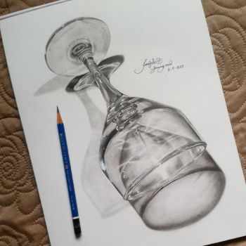 Wine Glass Hyperrealistic Drawing by januarysnow13