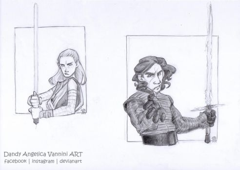 STAR WARS Characters, first set - Rey and Kylo by DandyAngelicaVannini