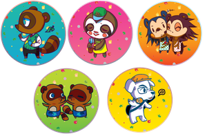 Animal Crossing Buttons by shark-bomb