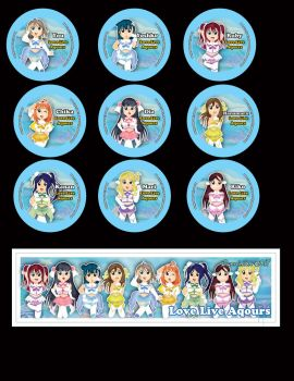 Love Live Sunshine Buttons by DannimonDesigns
