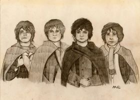 The four Hobbits by pawintols