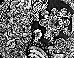 Floral Zentangle by aoiblue02