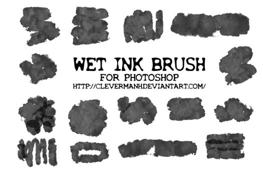 BRUSH 1 | Wet Ink Photoshop Brushes by CleverManh