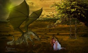 Dino and girl by annemaria48