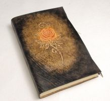 Large Rose Leather Journal by gildbookbinders