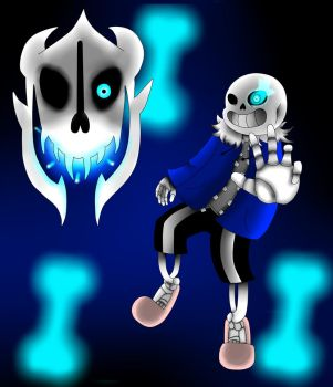 Sans and Gaster Blaster by Mrhypersonic