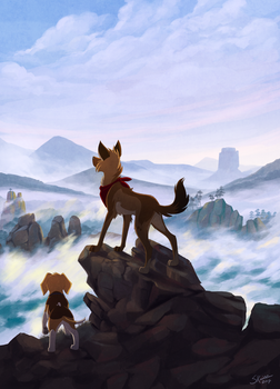 Wanderers Above the Sea of Fog by Skailla