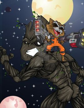 rocket and groot by bunleungart