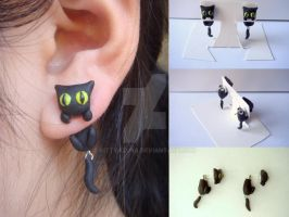 Black Cat Clinging Earrings by KittyAzura
