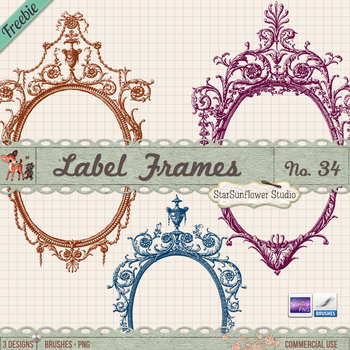 Free Vintage Frames Brushes and Clipart by starsunflowerstudio