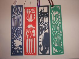 Papercut Bookmarks by freaky-dragonlady