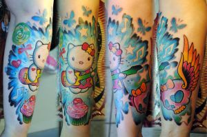 Full sleeve in colors girl by gettattoo on deviantart for Hello kitty tattoo sleeve