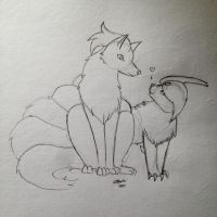 Commission Draft - Absol and Ninetales by Caskatified