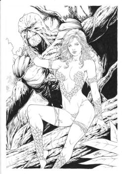 Poison Ivy and Swamp Thing by Leomatos2014
