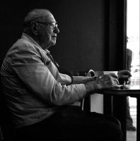 Old Man of the Doughnut Shop by fotomatique