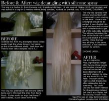 Detangling Wigs with Silicone Spray by chilmarkgryphon