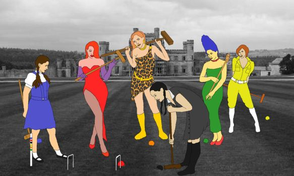 The Fictional Six play croquet (colored) by Honey-Hovercraft