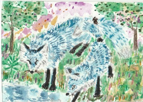 Blue  Fox  watercolor aceo painting by tulipteardrops