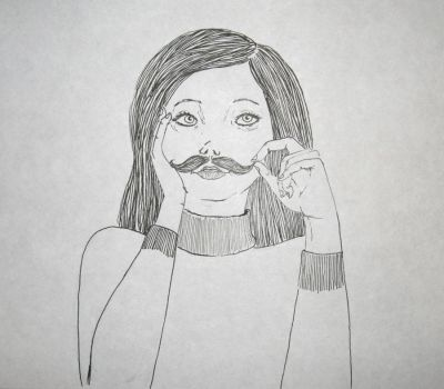 mustache girl by Minelaaa