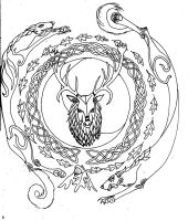 Herne the Hunter Inked by ShiningStarStag