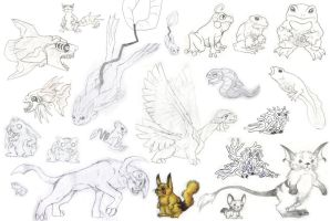 Realistic Pokemon sketch dump