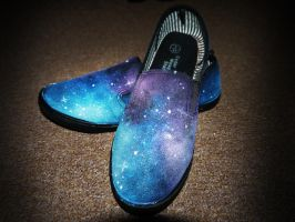 Hand Painted Nebula Shoes by morrallshortie