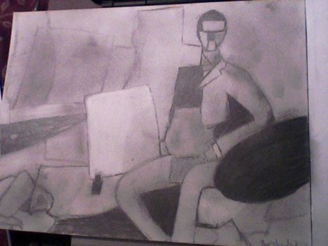 my sketch of the seated man by llmb