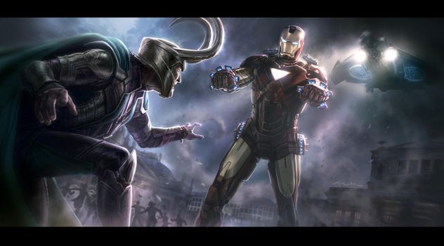 THE AVENGERS- Iron Man vs. Loki Key Frame by andyparkart