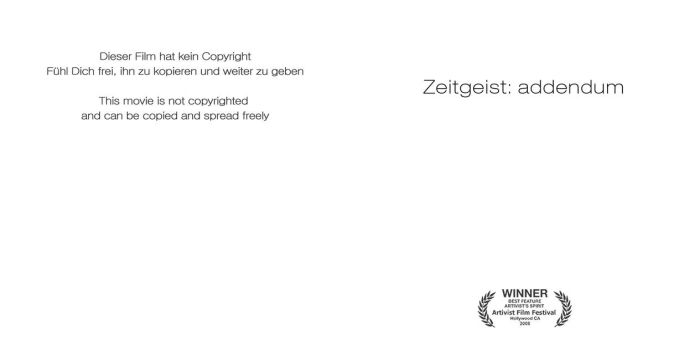 Zeitgeist Addendum CD Booklet by zginversion