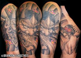 hannya mask tattoo by bjsxiii