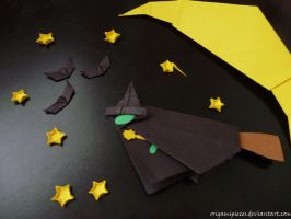 Origami witch over the moon by OrigamiPieces
