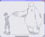 Hiro and Baymax WIP by azzai