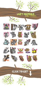 Lazy Animals mobile Stickers by julitka