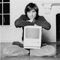 Steve Jobs Apple Painting from Magazine Photo by levialy