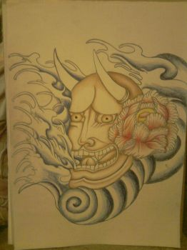 Hannya mask tattoo Step II by DrawsfromChrissy
